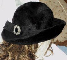 Martelle Faux Brimmed Black Fur Felt Hat Vintage 1960s W Germany Union Label. $30.00, via Etsy.