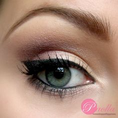 Neutral eye shadow with a slight shimmer make this look perfect for day to night events. This eye makeup is made more gorgeous with black eye liner and a touch of mascara.