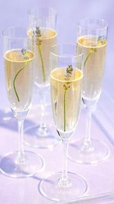 Lemon lavender mimosa: 1/2 cup fresh lemon juice, 8 ounces lavender tea syrup, & 32 ounces chilled Prosecco