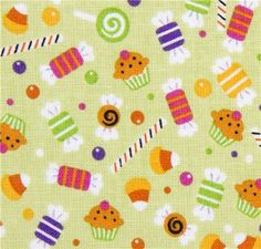 green Riley Blake Halloween fabric colourful candy  cute fabric with many small colourful sweets from the USA