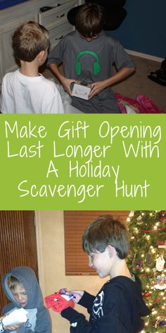 Have you considered a scavenger hunt for Christmas gifts? It makes present time last longer and is SO FUN! Holiday Scavenger Hunt via