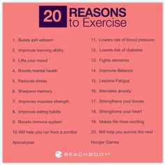 20 REASONS TO EXERCISE