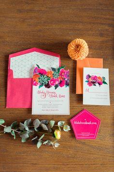 Colorful geometric wedding invitation   Wedding & Party Ideas   100 Layer Cake