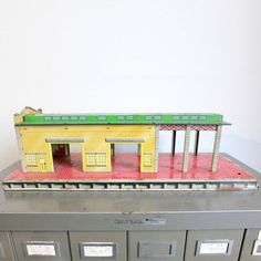 Antique Toy Train Station, $167, now featured on Fab.
