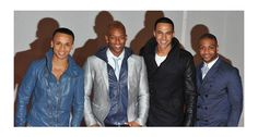 JLS show off their individual tastes at the Brit Awards. We've never seen so much leather on a boy band! Looking Dapper, Boy Bands, Mad, Awards, Leather Jacket, Stylish, Celebrities, Boys, Studded Leather Jacket