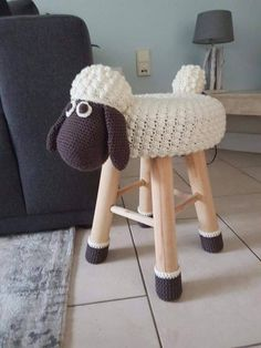 Crochet sheep stool cover