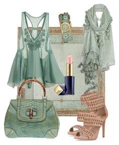 """""""146.  Whimsically green"""" by kristina-lindstrom ❤ liked on Polyvore featuring H&M, AllSaints, Gucci, Tory Burch, Vince Camuto and Estée Lauder"""