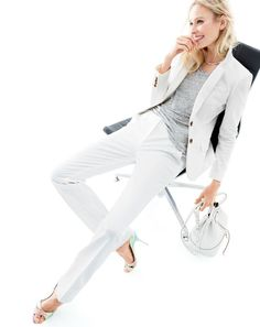 J.Crew women's Thompson blazer and Campbell trouser suiting in bi-stretch cotton, Sophia Webster for J.Crew Nicole heels and hinged choker necklace. To preorder call 800 261 7422 or email verypersonalstylist@jcrew.com.