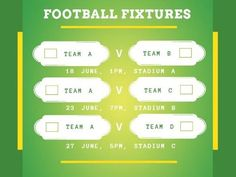 A bright green background and white text boxes for a Football post template.