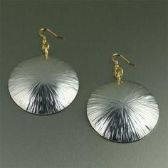 Large Aluminum Sand Dollar Disc Earrings