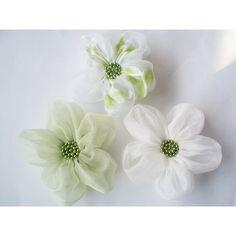 Lime White Chiffon Flowers Handmade Appliques by BizimSupplies via Polyvore
