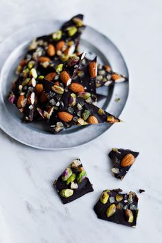 Life Love Food | Salt-Kissed Dark Chocolate Bark with Candied Orange, Almonds and Pistachios