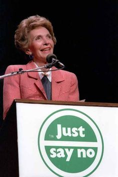 """1982: First Lady Nancy Reagan launches the """"Just Say No"""" drug awareness campaign."""