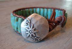 Leather wrap bracelet  Bohemian Country  distressed by slashKnots
