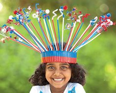 Cute and silly hat made from duct tape and straws