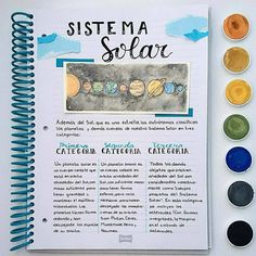 The solar system ☀️ I feel it is a very interesting topic and I enjoy a lot . Bullet Journal Planner, Bullet Journal Notes, Bullet Journal School, Cute Notes, Pretty Notes, Study Inspiration, Bullet Journal Inspiration, College Notes, School Study Tips