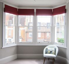 Roman blinds in a bay window. Japanese Maple, Roman Blinds, Living Room Inspiration, Bay Window, Home Furnishings, Fabrics, Lounge, Windows, Curtains
