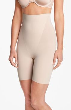 $72 SPANX Tan Medium Trust Your Thinstincts Mid-Thigh Shaper FTC#3993