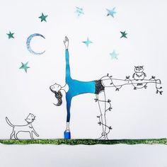 Half moon pose #yogaart #pets #iyengaryoga #ink #scrapbook #drawing #yoga #yogalove #illustration #illustrations #drawingoftheday #art #moon #yoga #design
