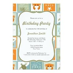 Elegant ocean theme birthday card ocean birthday party invitations ocean theme birthday invitation stopboris Image collections