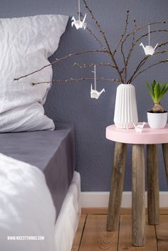 Schlafzimmer Bedroom Grey Grau Rose Deco Nordic Wall Wandfarbe