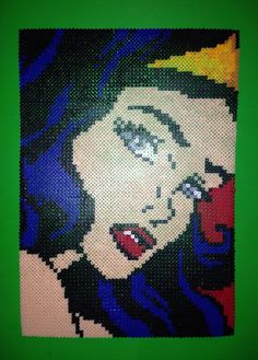 Wonder Woman Roy Lichtenstein inspired Perler Bead art by DearGawd