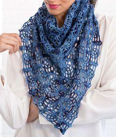 Lacy Blues Pineapple Shawl Free Crochet Pattern LW5212
