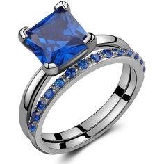 2.50 Ct Black Sterling Silver Round & Princess-Cut Created Blue... (300 CNY) via Polyvore