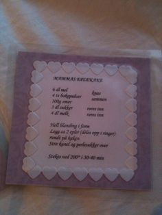 Sweet homemade recipecard