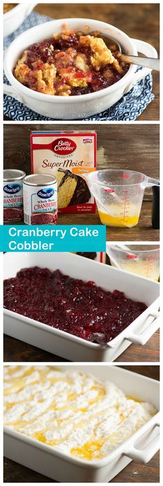 Betty Crocker Cake Mix and butter are the only three ingredients in this festive fall cobbler! cranberrycakeCranberries, Betty Crocker Cake Mix and butter are the only three ingredients in this festive fall cobbler! Betty Crocker, Cranberry Cake, Cranberry Recipes, Dump Cake Recipes, Dessert Recipes, Drink Recipes, Necterine Recipes, Baking Desserts, Pina Colada