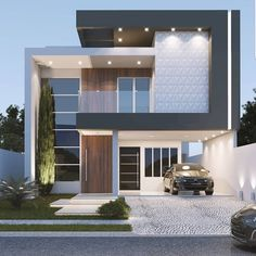 ❤️ Model Rendering Design & Visualization By unknown. Bungalow House Design, House Front Design, Small House Design, Cool House Designs, Modern House Design, Modern House Facades, Modern Architecture House, Rendering Architecture, Architecture Diagrams
