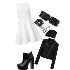 """Little White Punk Rock Dress"" by carly-sian on Polyvore"