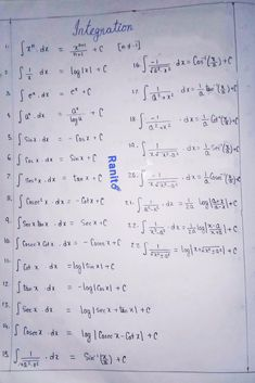 Here's a few important formulas of calculus for indefinite integration. There's a lot more,plus,I have skipped the formulas of integration by parts. Math Vocabulary, English Vocabulary Words, Integration By Parts, Math Formula Chart, Math Tutorials, Math Answers, Math Charts, Maths Solutions, Physics And Mathematics