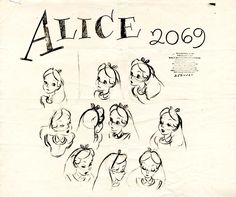 Vintage Disney Alice in Wonderland: Animation Model Sheet 250-101 - Alice