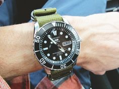Seiko 5 on olive nato. The best.