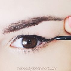 "Many of us think we can't rock a cat eye because we have a ""droopy"" crease that ""folds"" where the wing goes. Think again! Four easy tricks that walk you through it just went up on thebeautydepartment.com! (Click through to see!)"