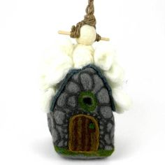 Grey White Brown Felt Yeti Hut Birdhouse Wild Woolies Handmade Fair Trade Craft for sale online Purple Martin House, Wooden Flowers, Felt Birds, Wool Felt, Felted Wool, Handmade Design, Season Colors, Decoration, Bird Houses