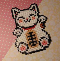 Hama/Perler/Fuse Bead Kawaii Japanese Style White Lucky Cat Pixel Art, Bead…