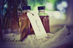 Moonshine wedding guest favors,   photographed by Knoxville wedding photography company Bledsoe Photography, featured on The Pink Bride www....