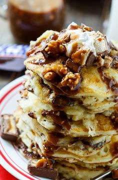 Snickers Pancakes with Snickers Syrup from @FMSCLiving