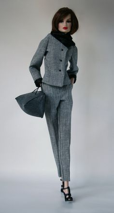 Gray Suit and Handbag for Barbie Silkstone by ChicBarbieDesigns