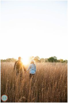 Sunset engagement photos, tall grass, engagement photos in field