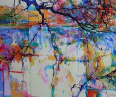 Cannop Ponds, acrylic on canvas, semi abstract landscape painting of the Forest of Dean by Doug Eaton