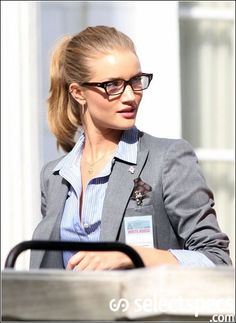 rosie huntington whiteley in geeky yet sexy glasses. basically my work uniform.