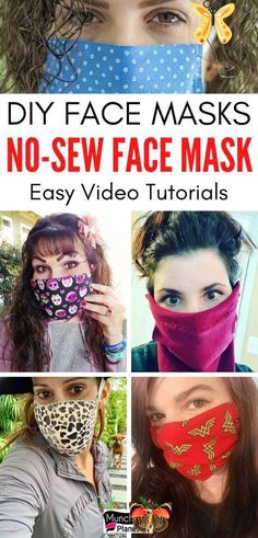 Homemade Face Masks - 7 No-Sew DIY Ideas | Munchkins Planet Learn how to make DIY face mask without sewing pattern with these video tutorials. These no-sew face masks are easy to make from any fabric, T-Shirt, sock, leggings, bandana and rubber bands. Homemade face masks can be used with coffee filters for extra protection against germs. Cloth face mask is not a replacement for a medical mask or N95 respirators but it is an effective face covering to curb the spread of viruses and germs… Homemade Facial Mask, Homemade Facials, Diy Mask, Diy Face Mask, Easy Video, How To Make Diy, Look, Sewing Patterns, Sock Leggings