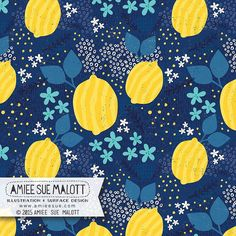 #lemon #pattern #artwork #365doodleswithjohannafritz #illustratorsoninstagram #amieesuedesigns #illustrator #digital #fabric | by amiee_sue