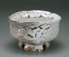 "MIWA, Jusetsu (Kyusetsu XI)   (Japanese: 1910 - 2012) - Tea bowl with notched foot, ""Ryujin"", Hagi ware, oni-hagi type, 1998"