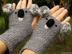KOALA Fingerless Crocheted Hand Warmers (No pattern, but i could totally make… Crochet Gloves Pattern, Knitted Gloves, Crochet Patterns, Crochet Crafts, Crochet Projects, Knit Crochet, Crochet Hand Warmers, Fingerless Mittens, Wrist Warmers