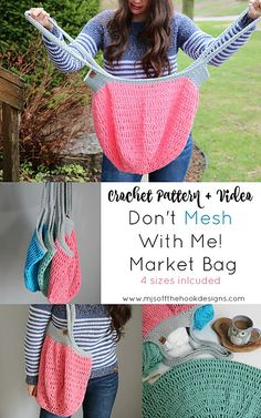 Ravelry: Don't Mesh With Me Market Bag pattern by MJ's Off The Hook Designs Crochet Market Bag, Crochet Tote, Crochet Purses, Easy Crochet, Free Crochet, Crochet Handbags, Crochet Designs, Crochet Patterns, Crochet Stitches