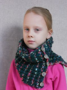 knit cowl | Hand knit cowl scarf for girl green striped by chiffonart on Etsy